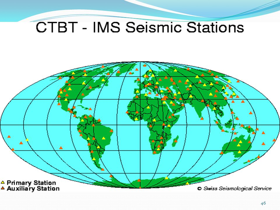 The seismic network will consist of 50 primary stations and 120 auxiliary stations.