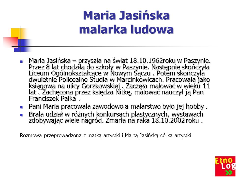 Maria Jasińska malarka ludowa