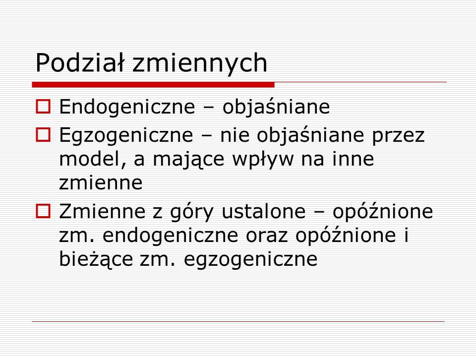 Podział zmiennych Endogeniczne – objaśniane