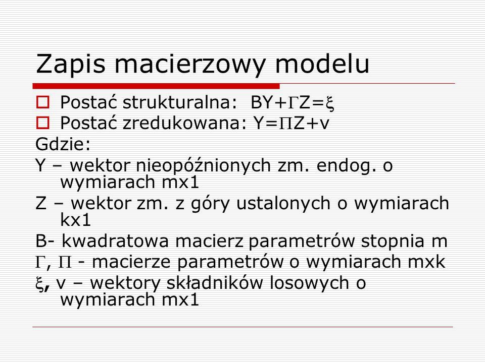 Zapis macierzowy modelu