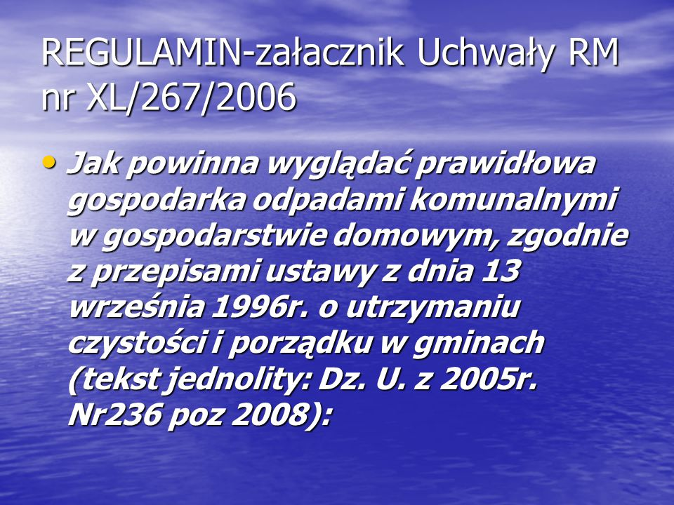 REGULAMIN-załacznik Uchwały RM nr XL/267/2006