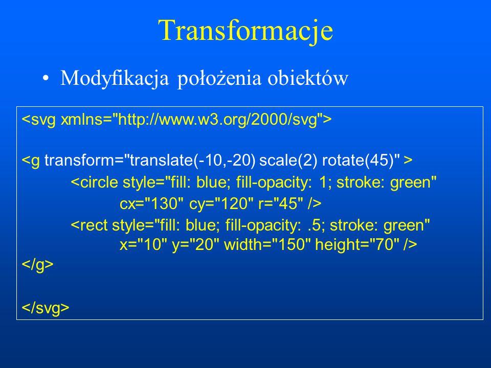 Transformacje Modyfikacja położenia obiektów