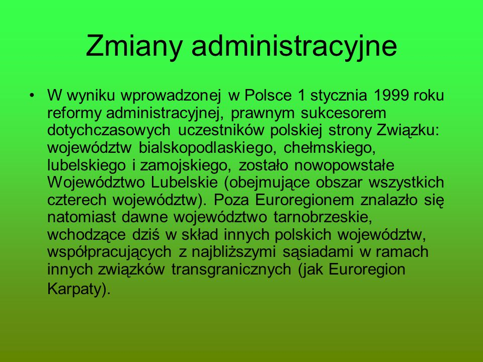Zmiany administracyjne