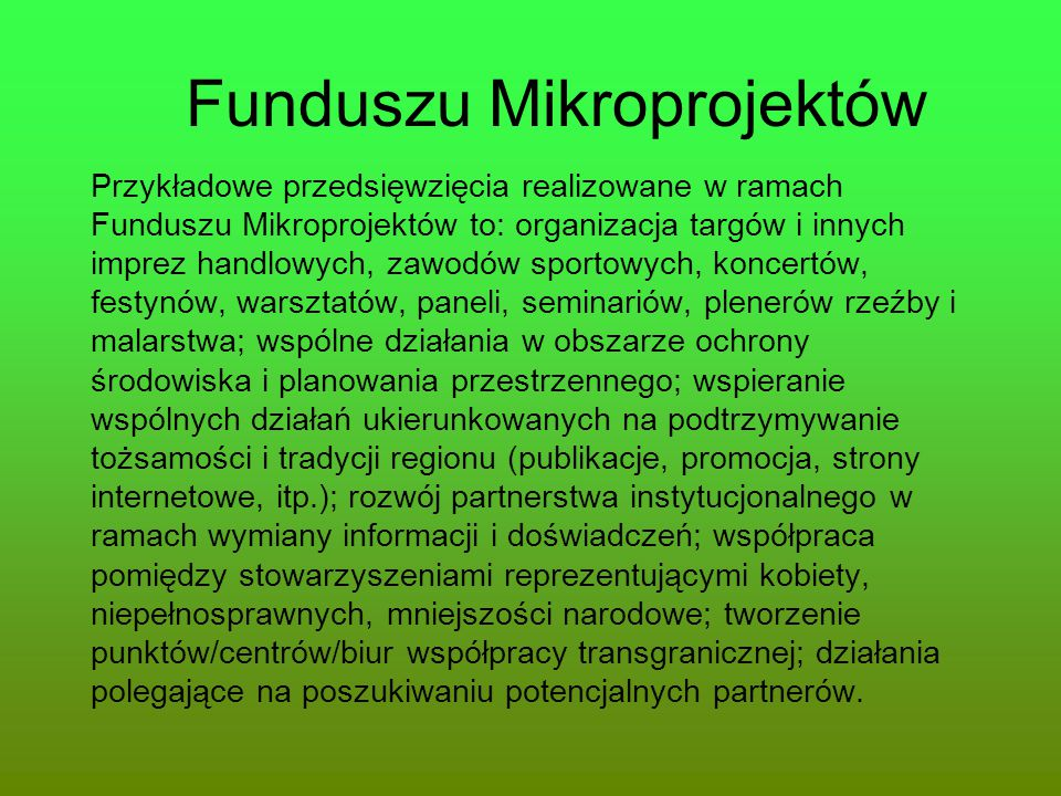 Funduszu Mikroprojektów