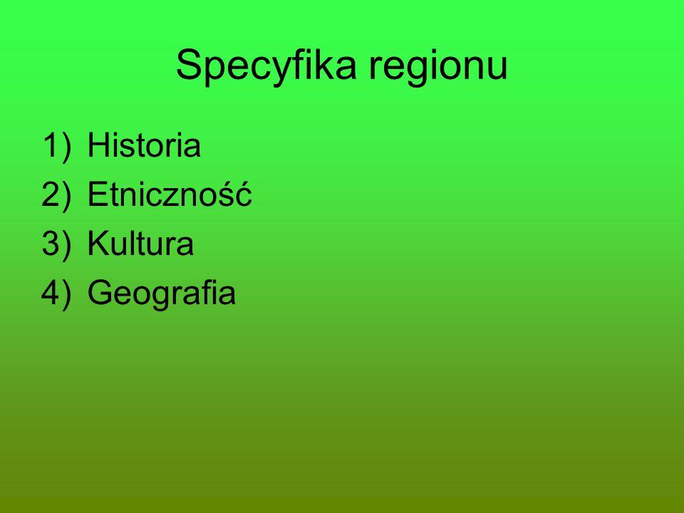 Specyfika regionu Historia Etniczność Kultura Geografia