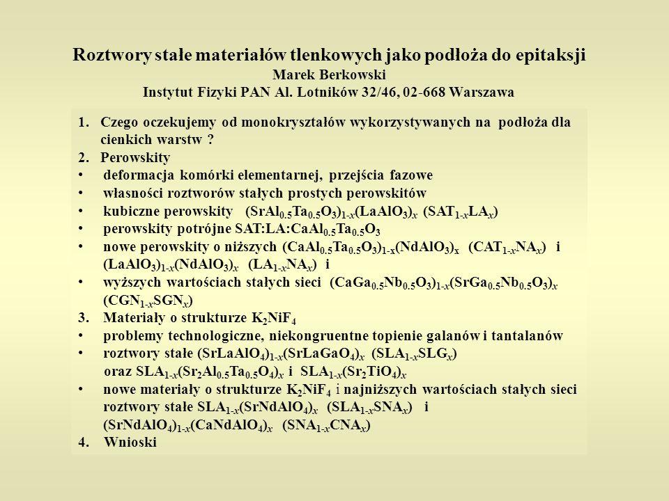 Roztwory stałe materiałów tlenkowych jako podłoża do epitaksji Marek Berkowski Instytut Fizyki PAN Al. Lotników 32/46, 02-668 Warszawa