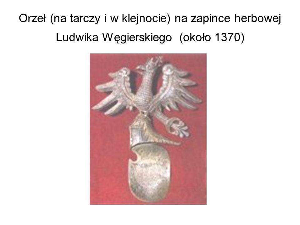 Orzeł (na tarczy i w klejnocie) na zapince herbowej Ludwika Węgierskiego (około 1370)