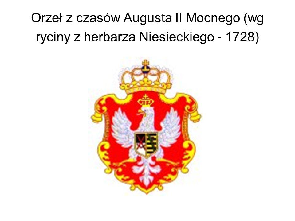 Orzeł z czasów Augusta II Mocnego (wg ryciny z herbarza Niesieckiego - 1728)