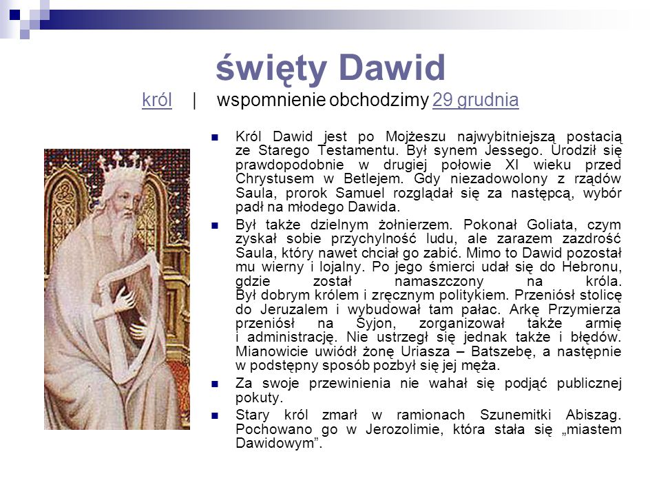 święty Dawid król | wspomnienie obchodzimy 29 grudnia