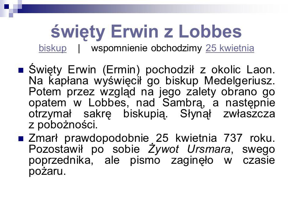 święty Erwin z Lobbes biskup | wspomnienie obchodzimy 25 kwietnia