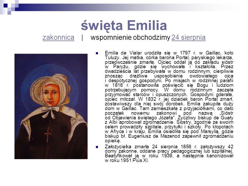 święta Emilia zakonnica | wspomnienie obchodzimy 24 sierpnia