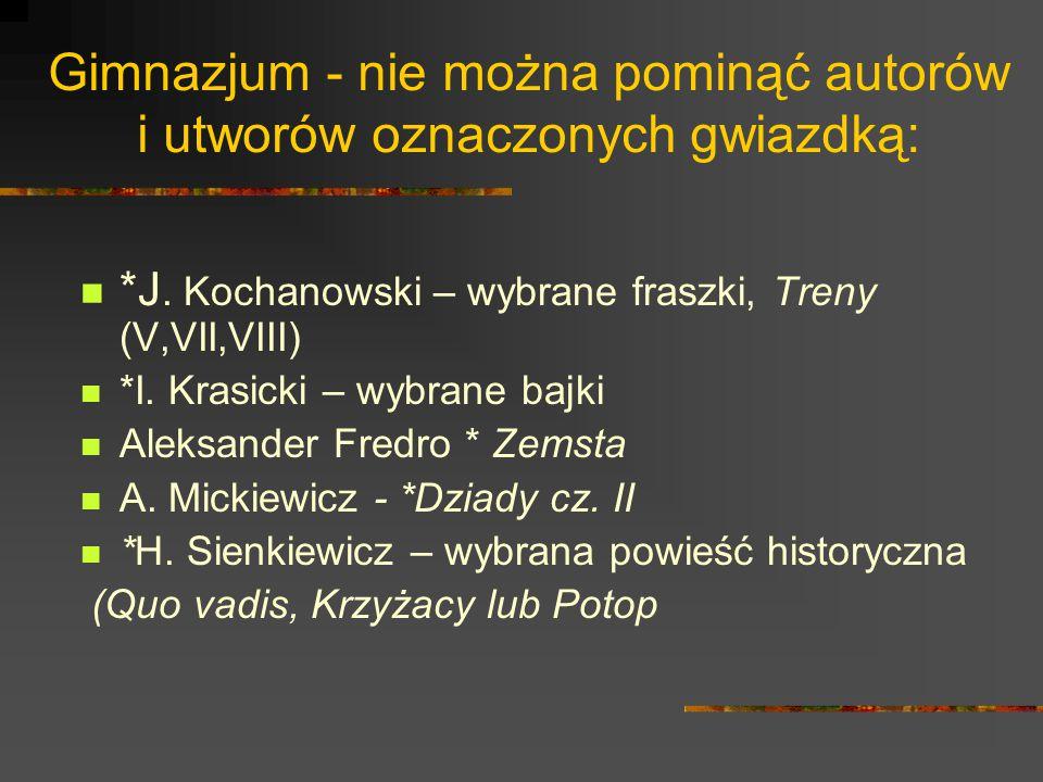 Gimnazjum - nie można pominąć autorów i utworów oznaczonych gwiazdką: