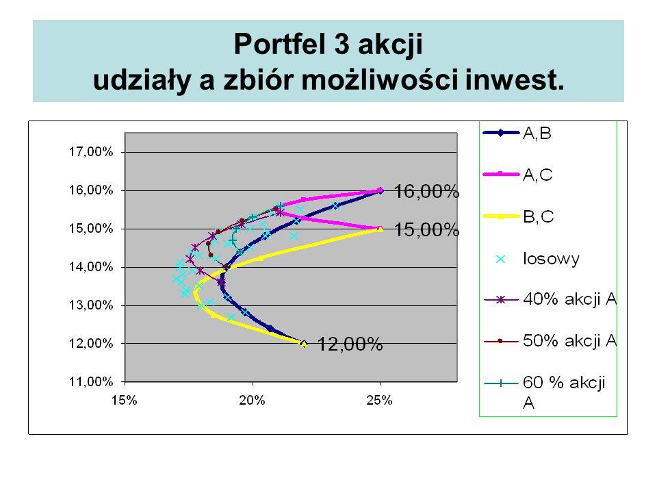 Portfel 3 akcji udziały a zbiór możliwości inwest.