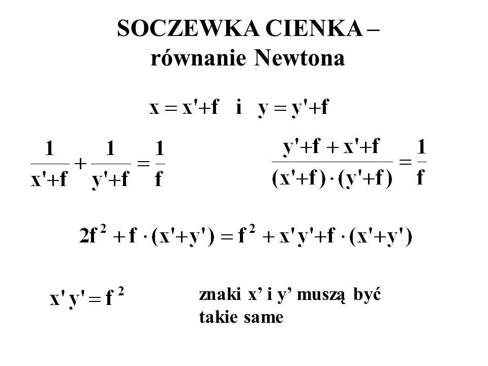 SOCZEWKA CIENKA – równanie Newtona