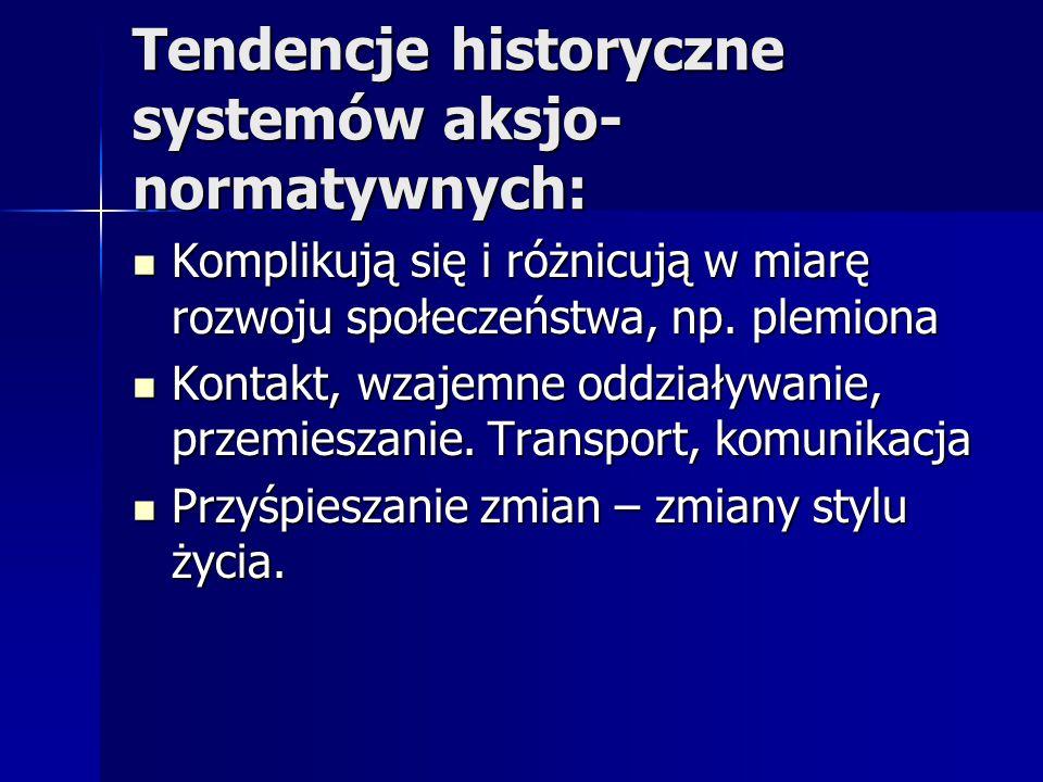 Tendencje historyczne systemów aksjo-normatywnych: