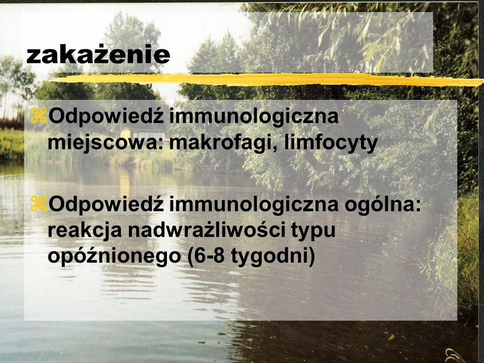zakażenie Odpowiedź immunologiczna miejscowa: makrofagi, limfocyty