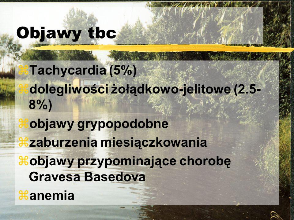 Objawy tbc Tachycardia (5%) dolegliwości żołądkowo-jelitowe (2.5-8%)