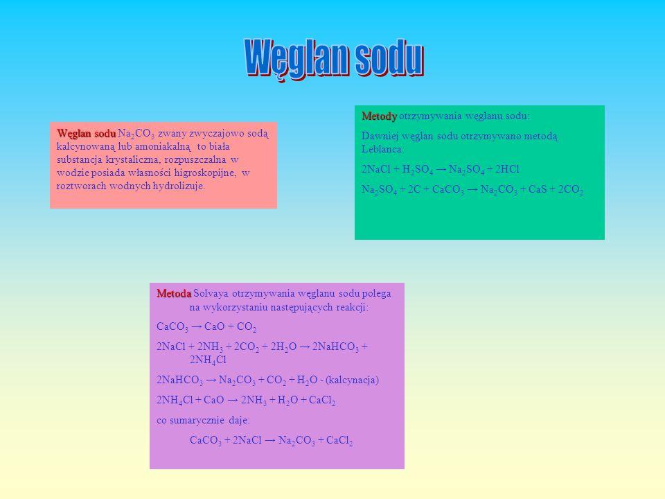Węglan sodu Metody otrzymywania węglanu sodu: