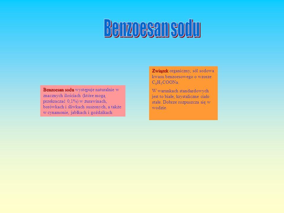 Benzoesan sodu Związek organiczny, sól sodowa kwasu benzoesowego o wzorze C6H5COONa.