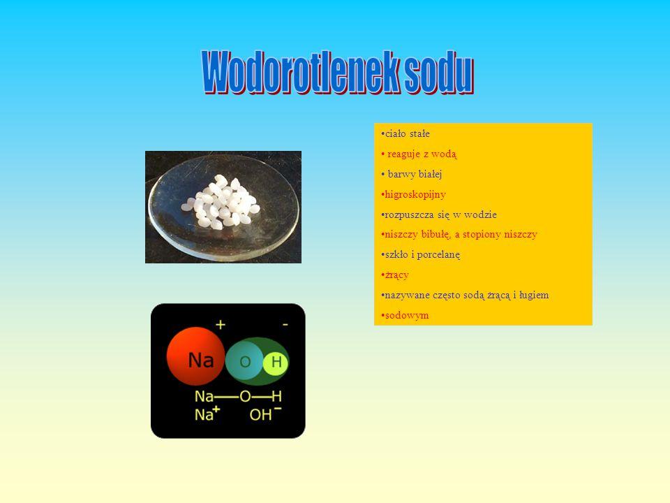 Wodorotlenek sodu ciało stałe reaguje z wodą barwy białej