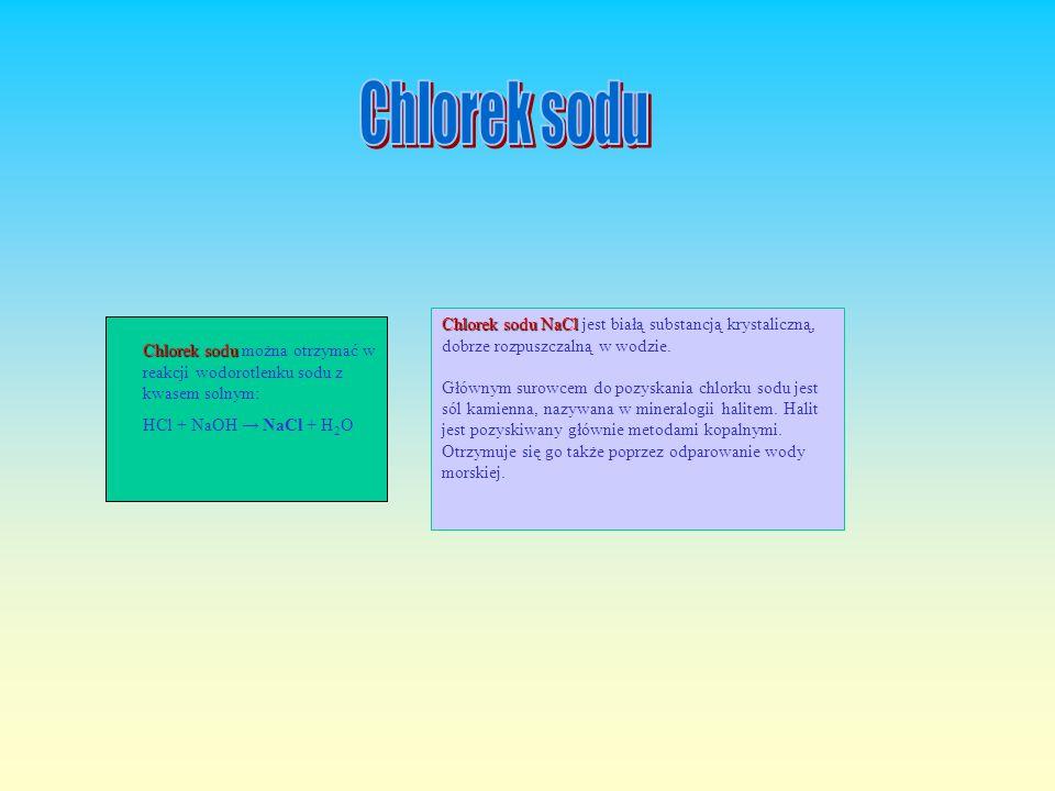 Chlorek sodu Chlorek sodu NaCl jest białą substancją krystaliczną, dobrze rozpuszczalną w wodzie.