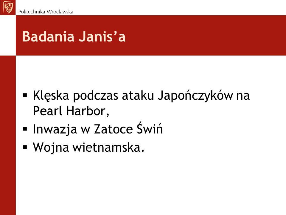 Badania Janis'a Klęska podczas ataku Japończyków na Pearl Harbor,