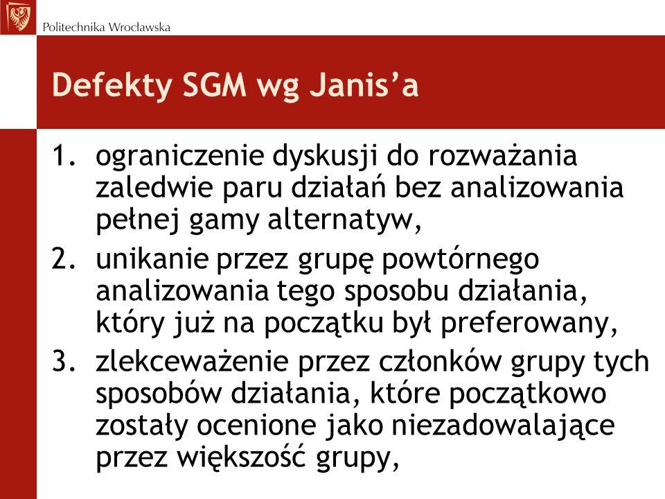 Defekty SGM wg Janis'a ograniczenie dyskusji do rozważania zaledwie paru działań bez analizowania pełnej gamy alternatyw,