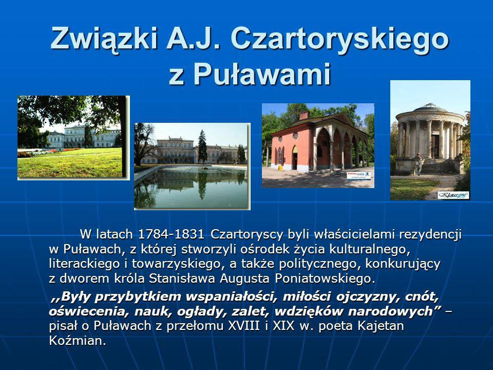 Związki A.J. Czartoryskiego z Puławami