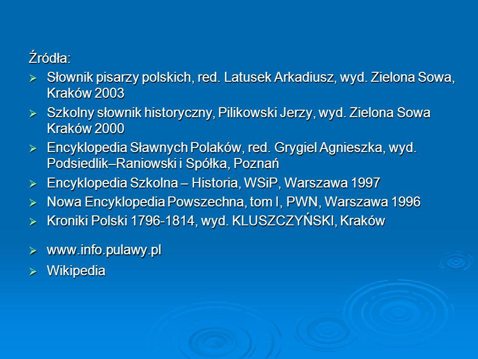 Źródła: Słownik pisarzy polskich, red. Latusek Arkadiusz, wyd. Zielona Sowa, Kraków 2003.