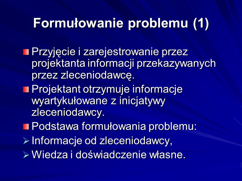 Formułowanie problemu (1)
