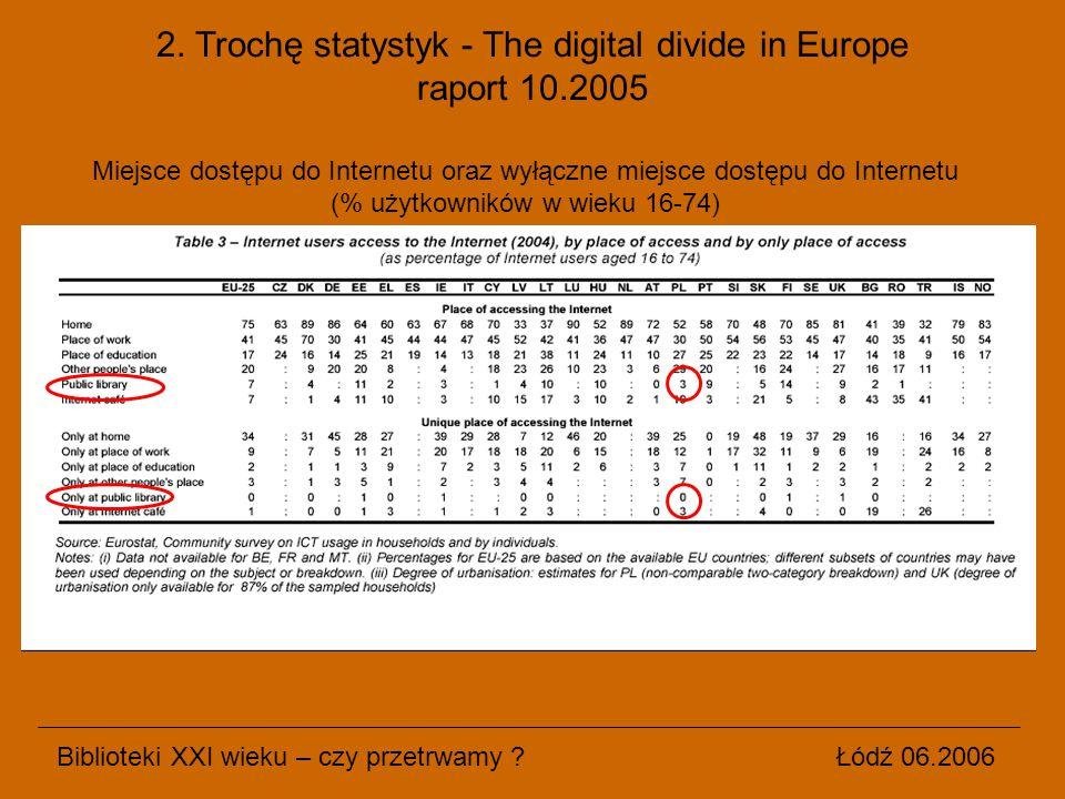 2. Trochę statystyk - The digital divide in Europe raport 10.2005