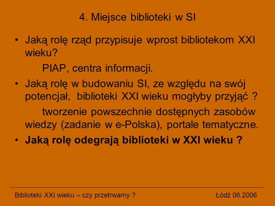 4. Miejsce biblioteki w SI