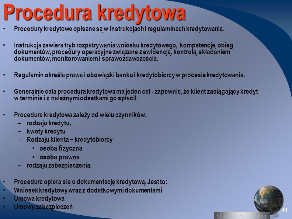 Procedura kredytowa osoba fizyczna osoba prawna