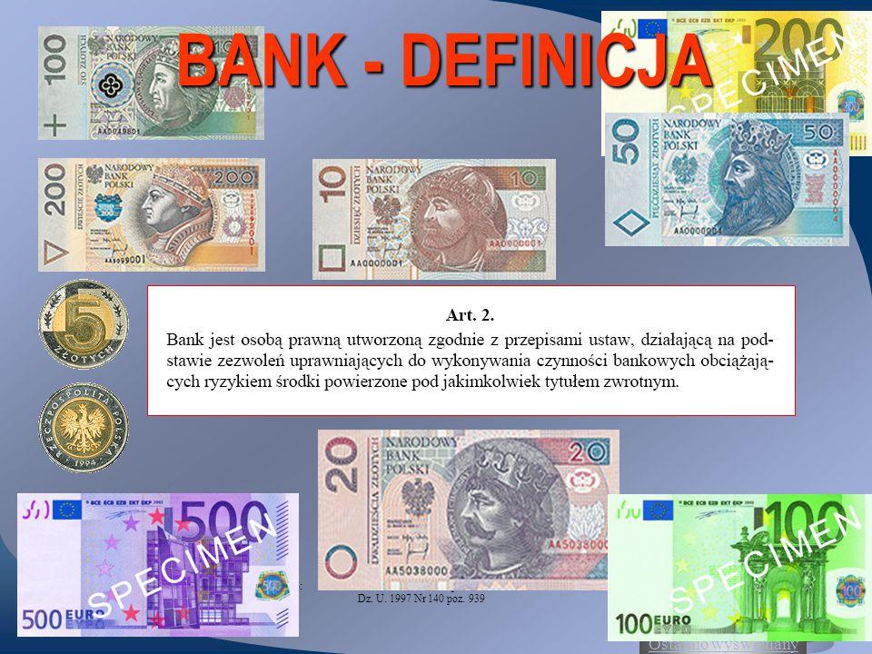 BANK - DEFINICJA Źródło: Ustawa z dnia 29 sierpnia 1997 roku Prawo bankowe Dz.