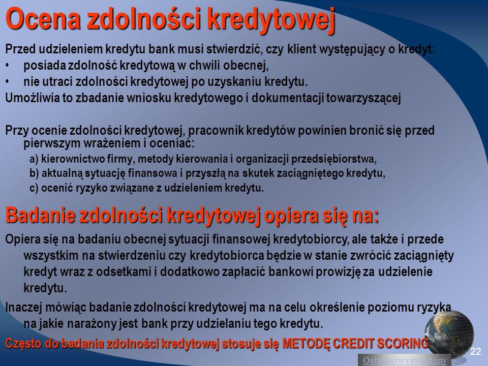 Ocena zdolności kredytowej