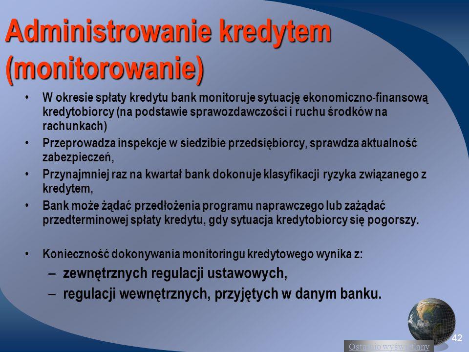 Administrowanie kredytem (monitorowanie)