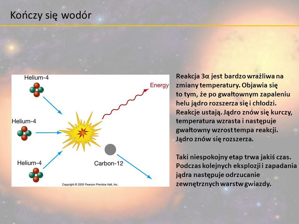 Kończy się wodór Reakcja 3α jest bardzo wrażliwa na