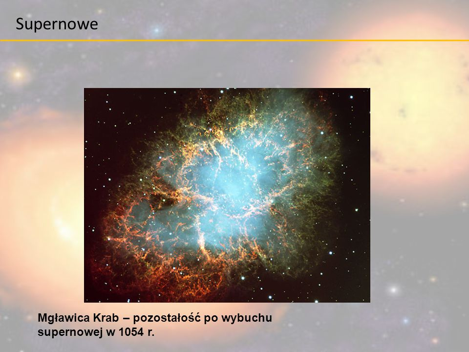 Supernowe Mgławica Krab – pozostałość po wybuchu supernowej w 1054 r.