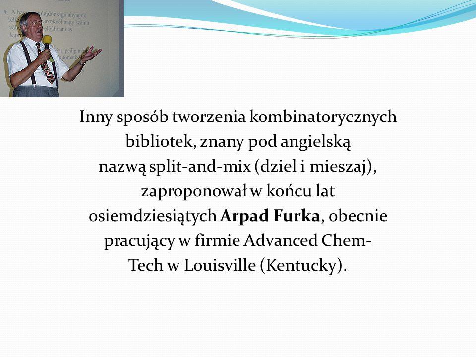 Inny sposób tworzenia kombinatorycznych bibliotek, znany pod angielską nazwą split-and-mix (dziel i mieszaj), zaproponował w końcu lat osiemdziesiątych Arpad Furka, obecnie pracujący w firmie Advanced Chem- Tech w Louisville (Kentucky).