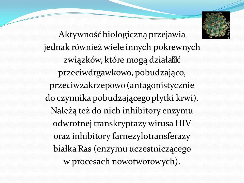 Aktywność biologiczną przejawia jednak również wiele innych pokrewnych związków, które mogą działać przeciwdrgawkowo, pobudzająco, przeciwzakrzepowo (antagonistycznie do czynnika pobudzającego płytki krwi).