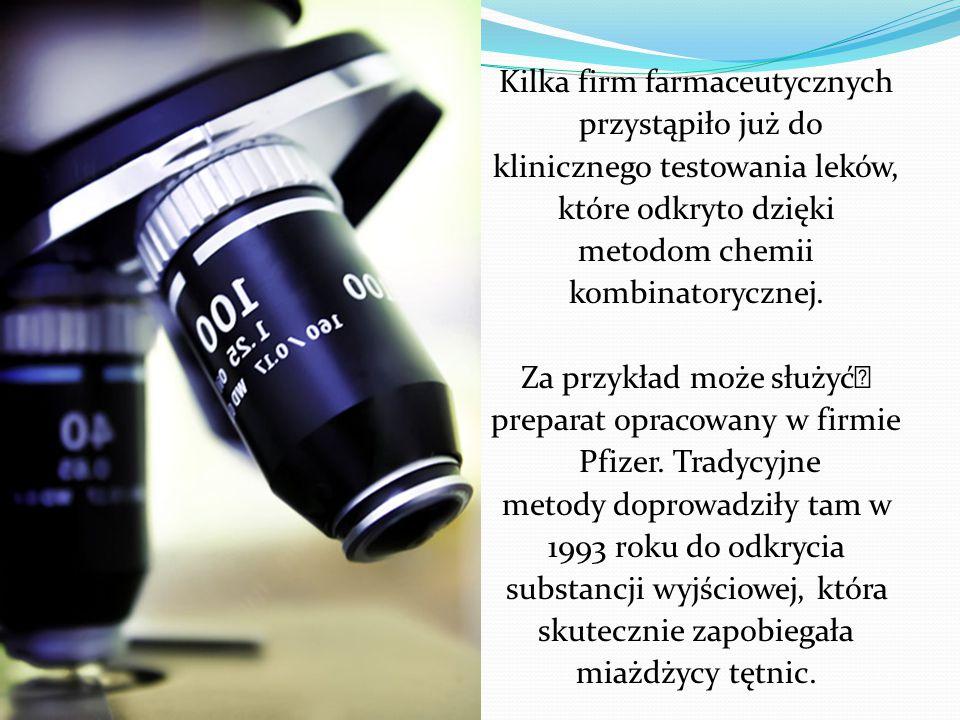 Kilka firm farmaceutycznych przystąpiło już do klinicznego testowania leków, które odkryto dzięki metodom chemii kombinatorycznej.