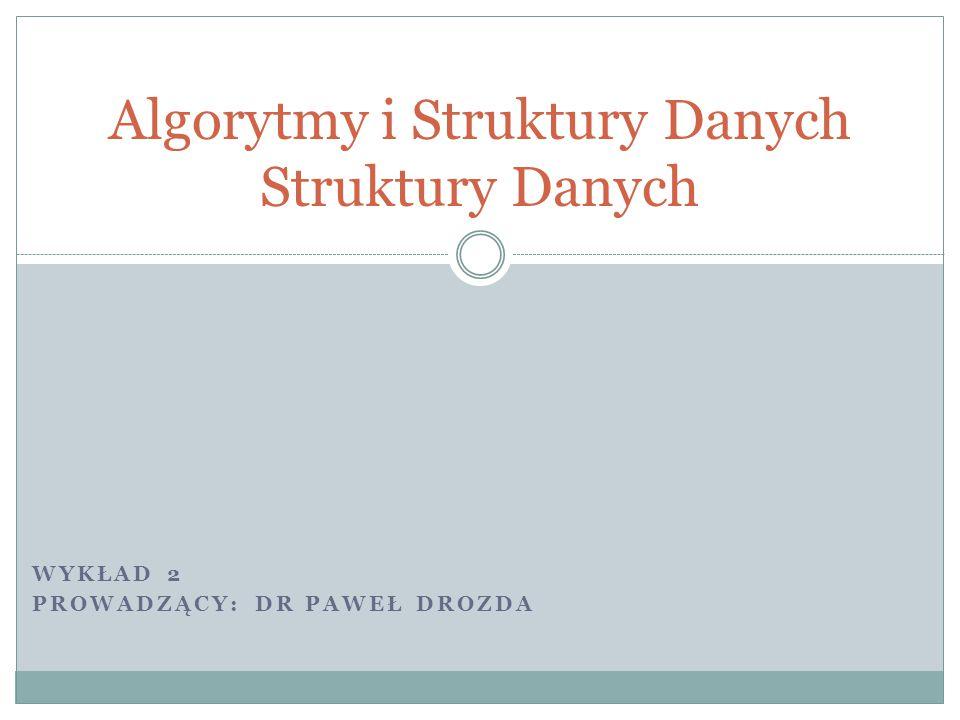 Algorytmy i Struktury Danych Struktury Danych