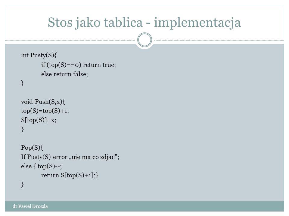 Stos jako tablica - implementacja