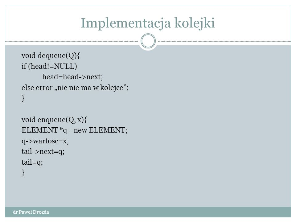 Implementacja kolejki