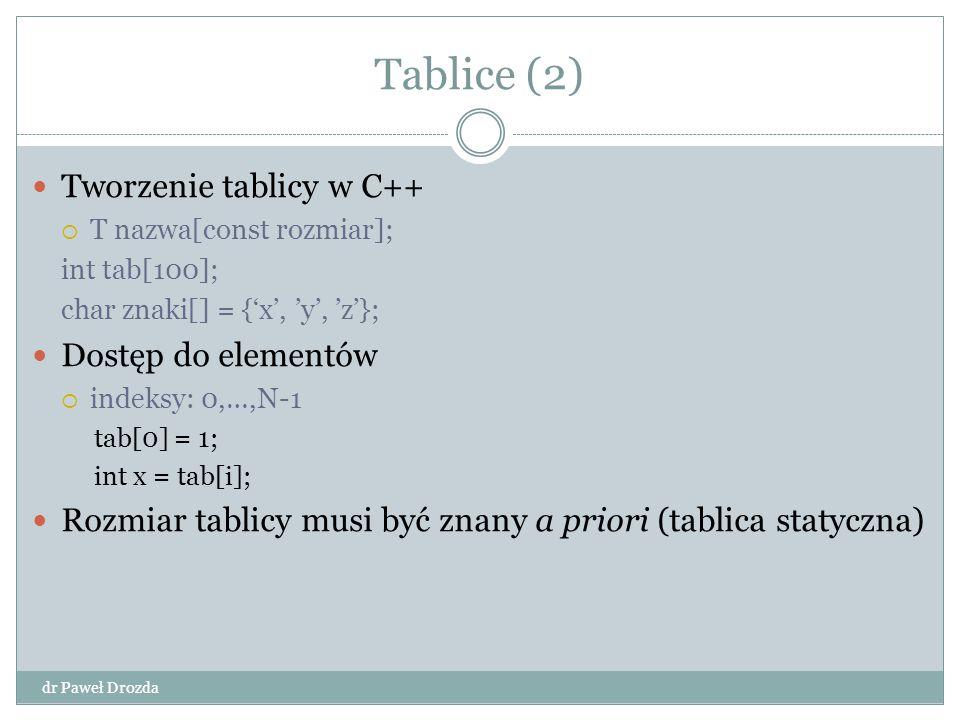 Tablice (2) Tworzenie tablicy w C++ Dostęp do elementów