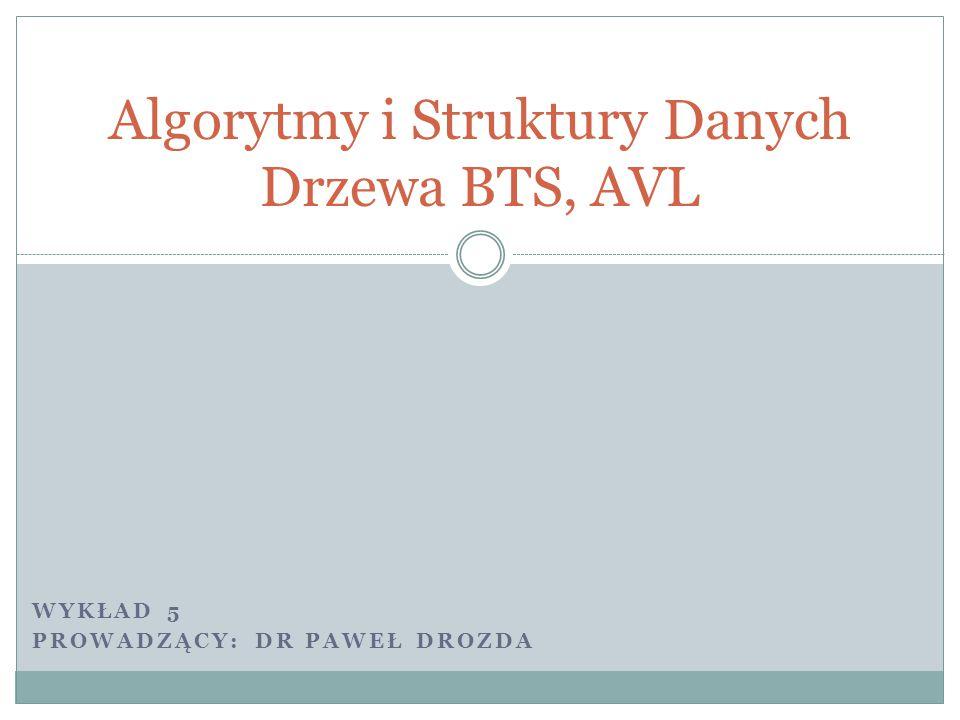 Algorytmy i Struktury Danych Drzewa BTS, AVL