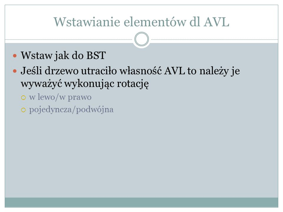 Wstawianie elementów dl AVL