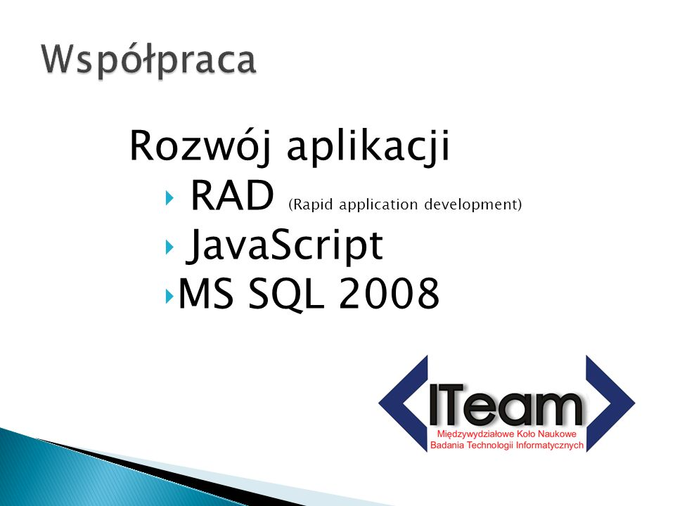 RAD (Rapid application development) JavaScript MS SQL 2008