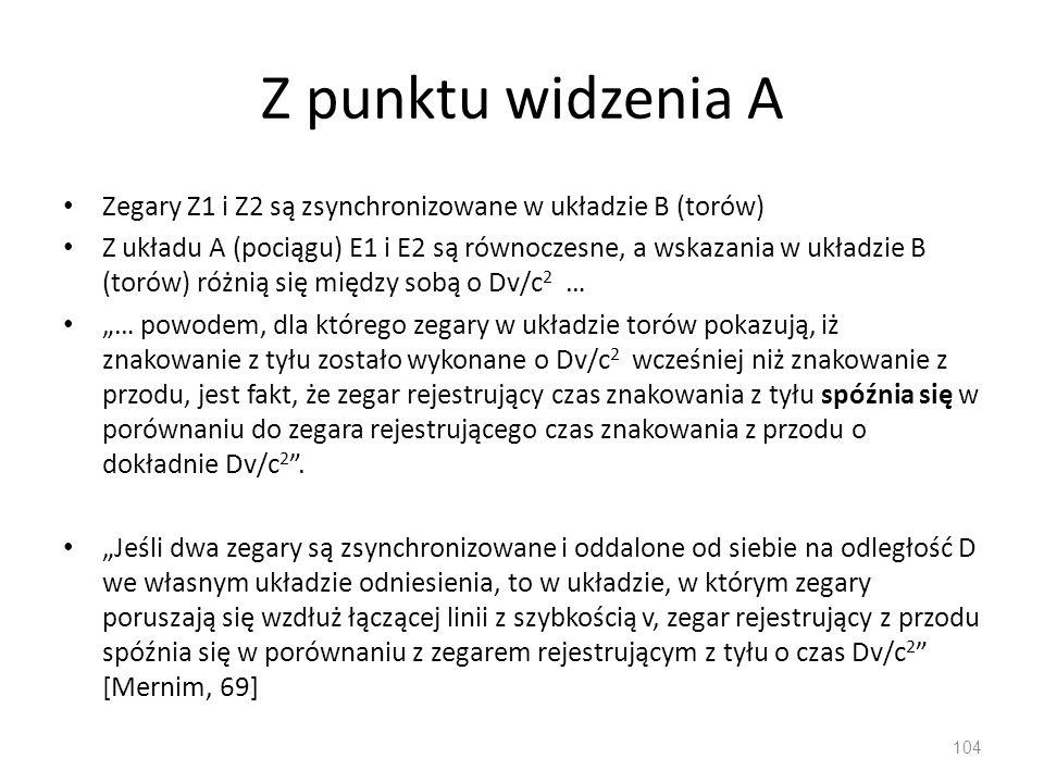 Z punktu widzenia A Zegary Z1 i Z2 są zsynchronizowane w układzie B (torów)