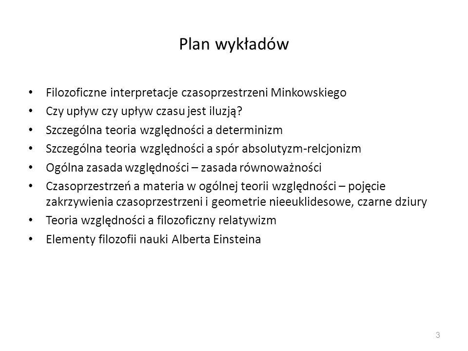 Plan wykładów Filozoficzne interpretacje czasoprzestrzeni Minkowskiego